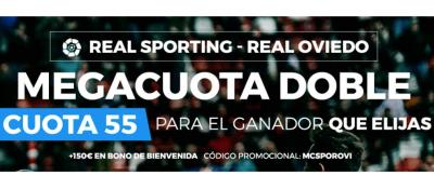 Mejores cuotas del Sporting - Oviedo con la Megacuota doble de Paston