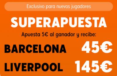Promo Superapuesta de 888Sport en las cuotas del Barcelona - Liverpool