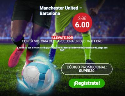 Promo de Marathonbet en las cuotas del Manchester United - Barcelona