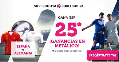 Supercuota Wanabet para las apuestas del España vs Alemania de la final de la Euro sub-21