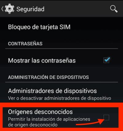 Ajustes en móviles Android para instalar App Codere