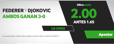 Ultracuota Betway para apuestas con Federer y Djokovic en el US Open 2019