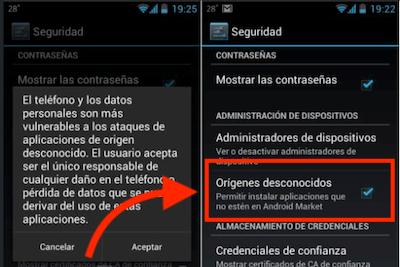 Permitir instalar aplicaciones origen desconocido - Descargar app Bwin en Android