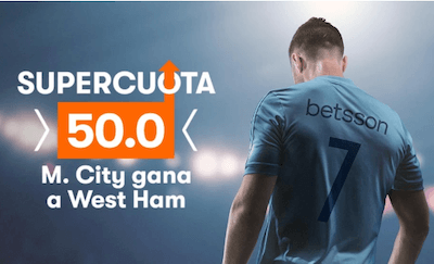 Supercuota en cuotas West Ham vs Manchester City en Betsson