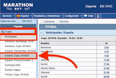 Marathonbet - cuotas de apuestas a ganador de Copa del Rey 2019-2020