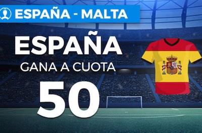 Cuotas España vs Malta - Megacuota 50 en Paston