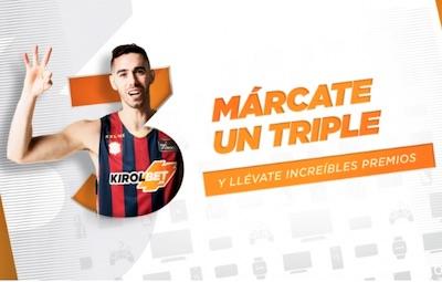 """Apuestas en baloncesto con premio con la promo """"Márcate un triple"""" de Kirolbet"""