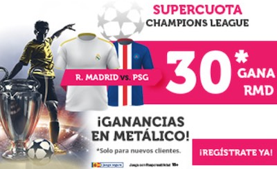 Supercuota en las apuestas  gana Real Madrid al PSG en Champions