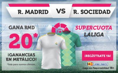 Mejor cuota al Real Madrid frente a la Real Sociedad, en Wanabet