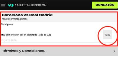 Cuota de 10 en las apuestas a que se marca gol en el Barcelona vs Real Madrid en Versus