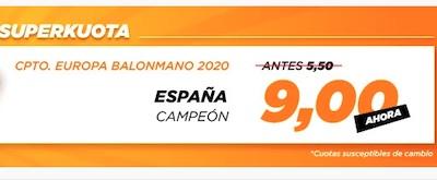 Superkuota victoria España en Europeo de Balonmano en Kirolbet