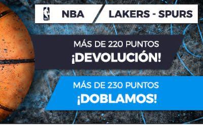 Dobla o devolución de tus apuestas al Lakers vs Spurs de la NBA en Pastón