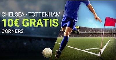 Apuestas a número de corners en el Chelsea vs Tottenham sin riesgo
