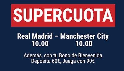 Cuotas aumentadas de apuestas en el Real Madrid vs Manchester City en Marathonbet