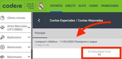 Apuesta al Liverpool vs Atletico en Codere con cuota 11.00 al empate a cero