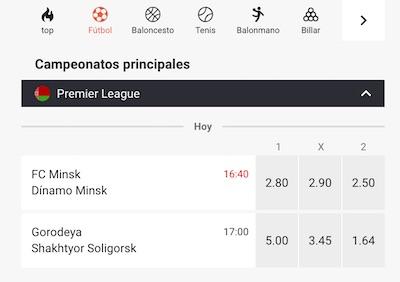 Cuotas de apuestas a los partidos de la Liga Bielorrusa en Leovegas