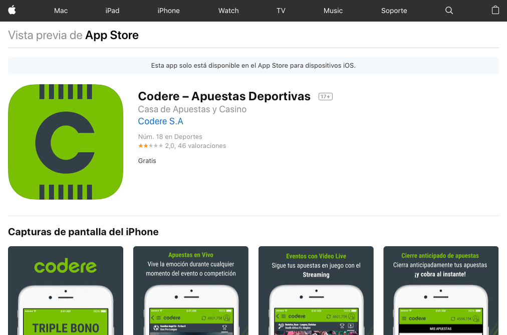 Codere, aplicación disponible en la App Store para iPhone y iPad