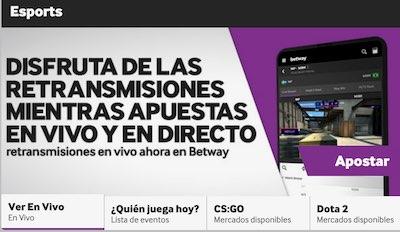 Retransmisiones en vivo de eSports en Betway Apuestas