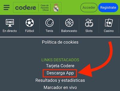 Descargar la app de Codere para android