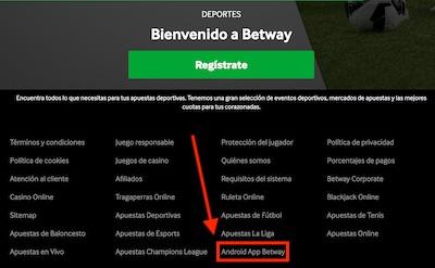 App de Betway para descargar en formato apk para android