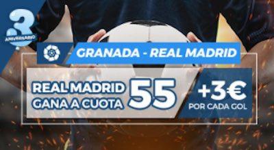 Megacuota en las apuestas al Real Madrid frente al Granada en Pastón.