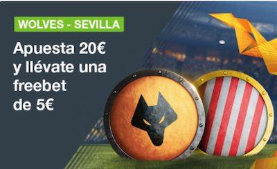 Apuestas 20€ al Sevilla vs Wolves y te llevas 5 euros gratis en Codere