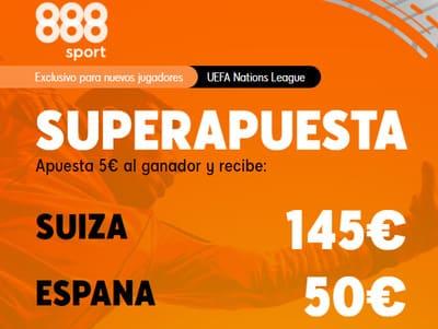 Super Apuestas en el Suiza-España con 888sport