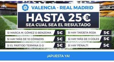 25 euros extra con la promo en apuestas al Valencia vs Real Madrid en Pastón
