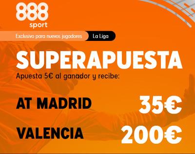 Las mejores cuotas en el Atletico-Valencia con la Superapuesta doble de 888sport