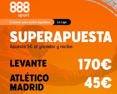 Gana con tus Super Apuestas del Levante Atletico de Madrid con 888sport
