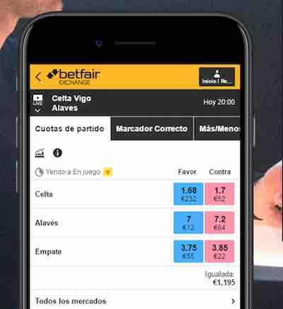 Descarga la app de Betfair Exchange España para apuestas cruzadas en tu móvil