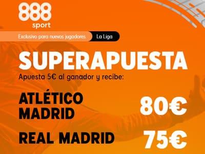 Las mejores cuotas en el Atleti Real Madrid con la Super Apuesta de 888sport
