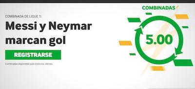 Apuesta con las cuotas combinadas especiales a que Messi y Neymar hacen gol en el PSG Lyon